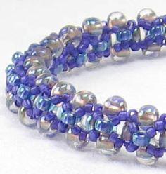 Beaded Flexible Bangle Bracelet Royal Blue Violet by VioletJewelry, $24.00