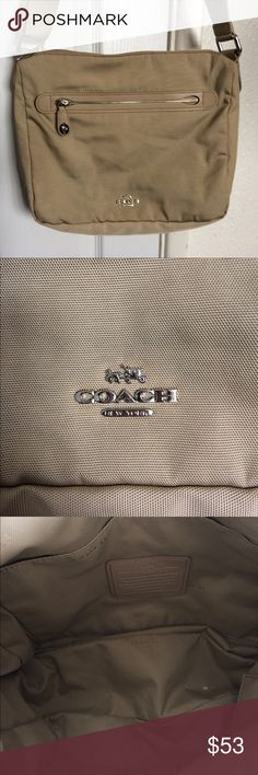 Coach Nylon Messenger Bag Crossbody Super cute authentic Coach nylon messenger bag. Bag is in great condition. No tears or rips. Inside is really clean. Some light color transfer on the front of the bag (not noticeable) and some darker color transfer near the bottom of the back of the bag probably from rubbing against darker pants during use. (See pictures.) Light beige, khaki color. Really nice bag! Coach Bags Crossbody Bags