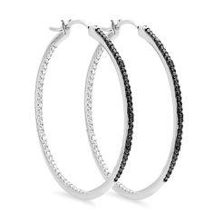 Elora Sterling 1/5ct TDW Black Diamond Hoop Earrings