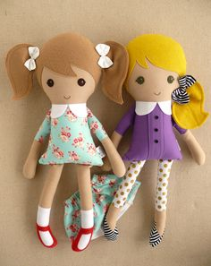 Reserved for Megan Two Fabric Dolls Rag Dolls by rovingovine