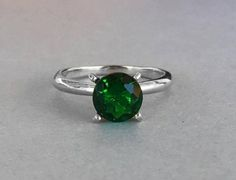 Round Natural Green Topaz Solitaire Engagement Ring Solid