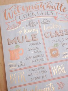 Wedding Signature Drink Sign Wet your whistle: Beer Wine Refreshments. 16x18 Hand Painted Calligraphy Moscow Mule Drink Illustrations