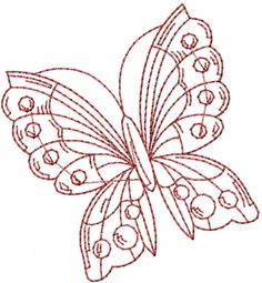 Pretty Butterfly Redwork embroidery design