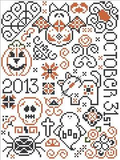 This fun little Halloween themed quaker pattern was designed by San-Man Originals and is available free at Cyberstitchers.com (download here) The pattern does include the year 2013, but you could s...
