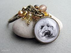 Cocapoo Beaded Key Ring Pet Drawing Pet Gift Cocker by jsPetART
