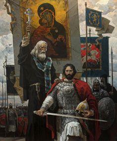 Sergius of Radonezh blessing Dmitry Donskoy before the battle by Yuri Pantyukhin