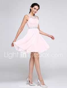 A-Line Jewel Neck Knee Length Chiffon Lace Cocktail Party Homecoming Prom Dress with Beading Lace by TS Couture® 2018 - $89.99