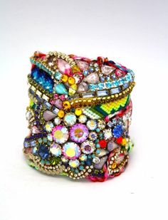 A great way to create statement jewellery is to use all leftover beads and stones in a gloriously eclectic mix.