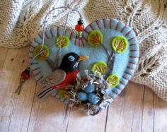 Robin and Nest Ornament - Ready to Ship Embroidered Fiber Art