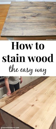 An easy DIY tutorial for how to stain wood even if you've never applied wood stain before! This post walks you through how to stain a wood table. You could easily follow these steps for any woodworking project. And this farmhouse table turned out beautifully! Click through for the tutorial or save for your next woodworking DIY! #woodstain #woodworking #minwax #diy #diyproject #tablebuild #furniturebuild #farmhousestyle