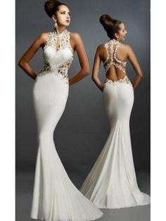 Rochie lunga alba eleganta tip sirena Edena