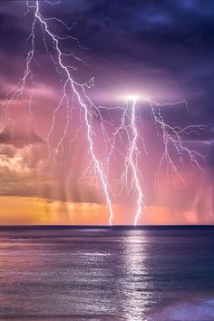 """Tropical Ocean Storm and Lightning Strike at Sunset in Africa Ride The Lightning, Thunder And Lightning, Lightning Strikes, Lightning Storms, Lightning Cloud, Lightning Images, Beautiful Sky, Beautiful Landscapes, Beautiful World"