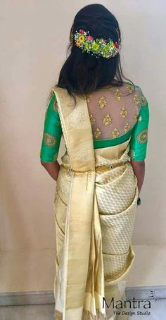 6 Stunning Sister Of The Bride Outfits Worn By Our Real Bride Prabha At Her Cousin's Wedding Saree Blouse Neck Designs, Silk Saree Blouse Designs, Saree Blouse Patterns, Fancy Blouse Designs, Saree Hairstyles, Bride Sister, Indian Designer Outfits, Mandala Art, Work Blouse