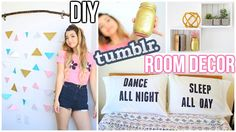 """DIY Room Decor! Tumblr Inspired -pillow case w/ print -hanging triangle """"curtains"""""""