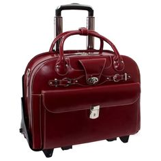 Wheeled Laptop Case Business Travel Luggage Leather Briefcase Businesses Bag New #LaptopBagAirportFriendly