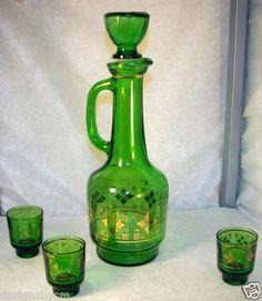 vintage murano glass decanter set