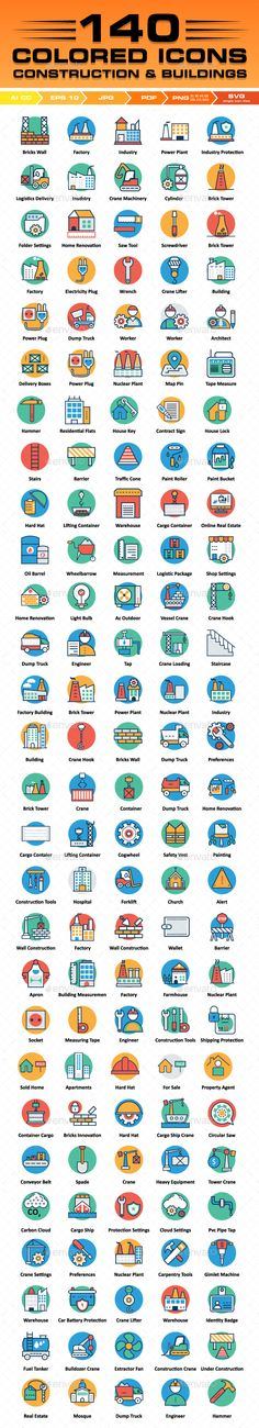 140 #Construction #Icons Color Vector #Icons Set - Icons