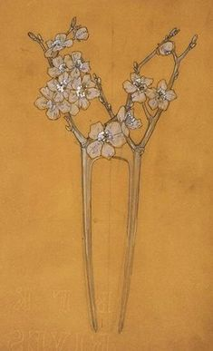 Lalique: drawing of a comb with flowers on a tree branch.
