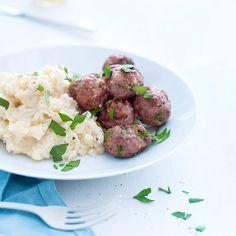 Kjøttboller med potetmos og sellerirot
