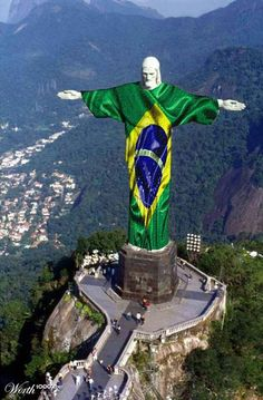 Jesus of Rio wearing the flag (photoshopped) for the World Cup