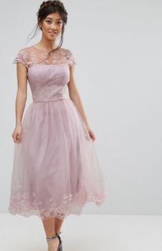 Chi Chi London Petite Premium Lace Midi Prom Dress with Lace Neck