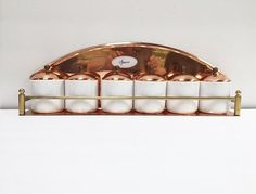 Vintage Copper Spice Rack with Six White by TazamarazVintage