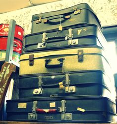 Vintage Suitcases - For sale in our shop @ 11 St James street, Somerset West, Cape Town, South Africa Suitcase Sale, Somerset West, Vintage Suitcases, Us Shop, Cape Town, South Africa, Shed, Gems, Street