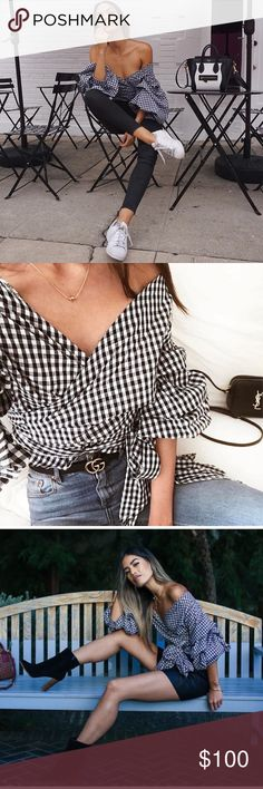 Sale!🎉 Gingham chacha top Esmeralda wrap top black gingham ▪️   Worn a few time for photos only  Perfect condition✔️ ▪️Price is Firm ❤️ ▪️size Aus 8 Small  ▪️Can be worn in infinite ways lioness Tops Blouses