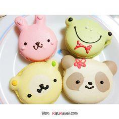 Adorable Macaroons~ Follow Kigu Kawaii for more cute stuff! #kigukawaii #cute #kawaii #adorable #Macaroons #Frog #Panda #Rabbit #bear #sweet #dessert #art