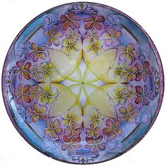 "Breath of Life Mandala 10"" glass plate $70"