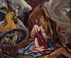 El Greco.  Christus am Ölberg. Um 1605, Öl auf Leinwand, 103 × 132cm.London, National Gallery.Griechenland und Spanien.Manierismus.  KO 00405