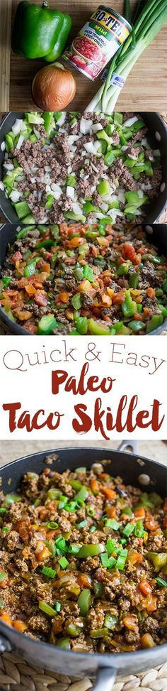 Quick and easy paleo taco skillet- a delicious, family pleasing one pot meal! http://sweetcsdesigns.com/paleo-taco-skillets-paleo-taco-bowls/
