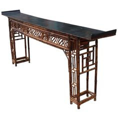 Elegant Chinese Bamboo Altar or Console Table | From a unique collection of antique and modern console tables at https://www.1stdibs.com/furniture/tables/console-tables/