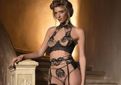 Impudique by Catanzaro - Ambre Halter Bra, Short and Suspender (2018)
