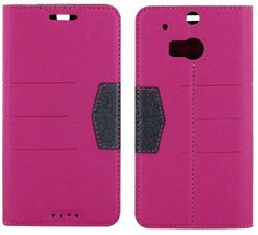 myLife Deep Pink and Black {Modern Magnetic Tab Design} Faux Leather (Card, Cash and ID Holder + Magnetic Closing) Slim Wallet for the All-N...