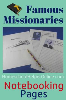 Missionaries Notebooking Bundle - Homeschool Helper Online - Study the lives of famous missionaries and write about their adventures in this printable Missionar - World History Teaching, World History Lessons, Famous Missionaries, Lap Book Templates, History Lesson Plans, Preschool Bible, Bible Study For Kids, Sunday School Lessons, Teacher Blogs