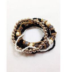 7 Piece Dark, Natural Tone Bracelet