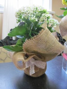 Burlap pot cover centerpiece vase cover  by SilverStarfishDesign, $3.00