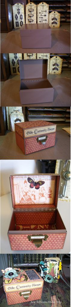 By Sew Scrappin Idaho Amy.  I used the new Graphic 45 Staples, Olde Curiosity Shoppe, and this cute metal box from a thrift store.