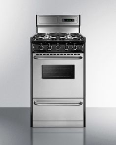 Deluxe gas range with in slim 20' width with stainless steel doors and four sealed burners; replaces TTM130279BFWY