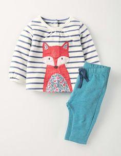 Mini Boden Animal Friends Jersey Play Set in China Fox/Aqua Size 12-18m