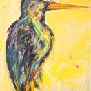 #499 Bird On Yellow, Acrylic on Canvas, 24x30