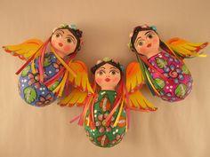 Buganvilla Imports: Paper Mache Folk Art Girl Angel, Oval