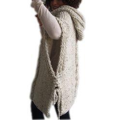 Abstand 50 % Tweed Beige Hand gestrickten Poncho mit von afra