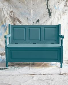 Any entryway would gladly welcome this pine piece with plenty of underseat stowing room. For this fix, use milk paint,