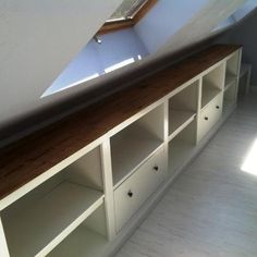 attic built-ins: shelves and drawers                                                                                                                                                                                 More