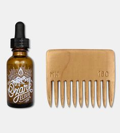 Custom Monogram Recycled Wood Beard Comb & Beard Oil Set by McClaren Woodshop on Scoutmob Shoppe