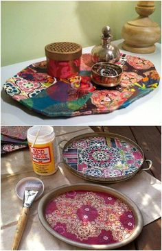 Bohemian Inspired Decoupaged Trays Craft 20 DIY Boho Chic Decor Ideas That Add Charm To Your Home Bohemian Crafts, Hippie Crafts, Boho Diy, Bohemian Decor, Bohemian Style, Bohemian Living, Boho Gypsy, Hippie Chic Decor, Bohemian Furniture