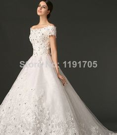 Free shipping Scalloped Beaded White Lace Wedding Dress 2014 Ball Gown Floor Length Court Train Bridal Gowns 2014 New Fashion $220.00