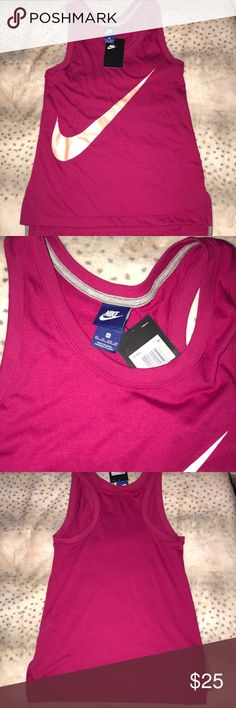 NWT Nike racer back workout tank women's xs NWT racer back work out tank women's xs magenta wine color with a pearl finish pastel orange Nike swoosh Nike Tops Tank Tops